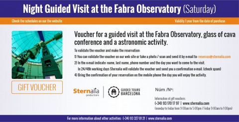Night guided tours with observation at the Fabra Observatory (saturday)