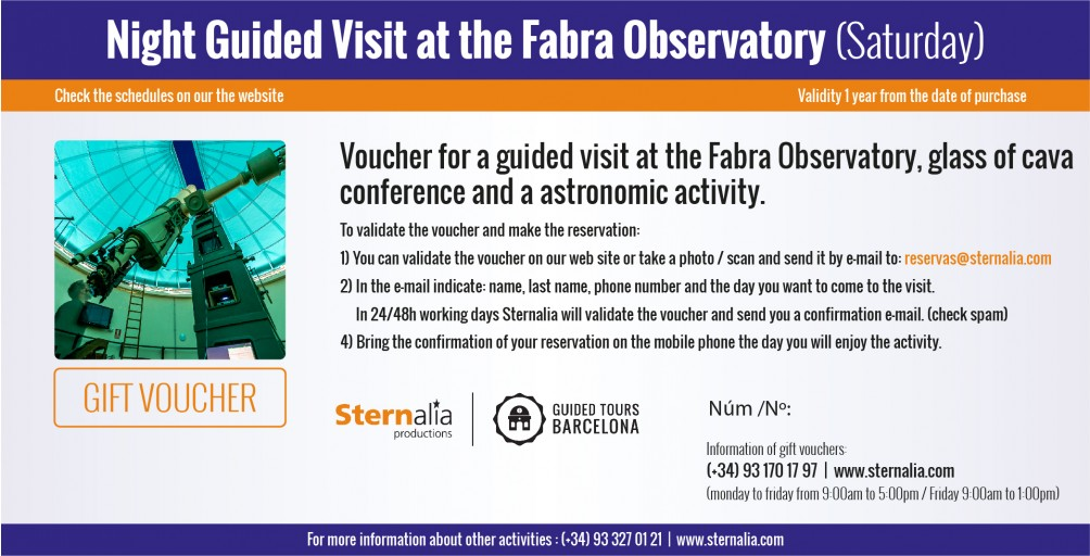 NIGHT GUIDED VISIT at the Fabra Observatory (saturday)