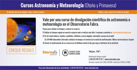 Cheque regalo Cursos en el Observatorio Fabra