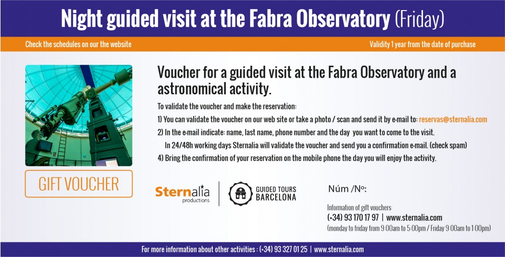 NIGHT GUIDED VISITS with observation at the Fabra Observatory (friday)